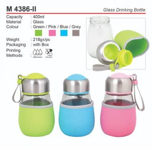 Glass Drinking Bottle with Pouch (M4386-II)