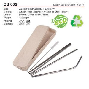 Metal Straw Set with Box (CS005)