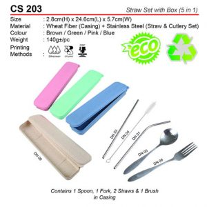 5 in 1 Straw set with box (CS203)
