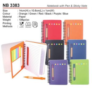 Notebook with pen & sticky note (NB3383)
